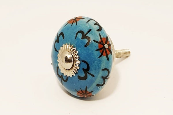 Ceramic aqua red floral unique funky round 4cm door knob pulls handles