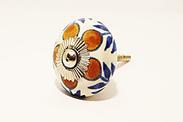 Ceramic blue brown unique floral round 4cm door knob pulls handles