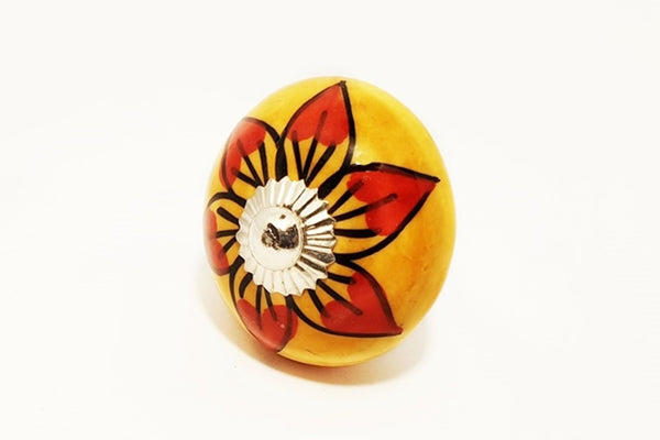 Ceramic vibrant orange/yellow red unique round 4cm door knob pulls handles