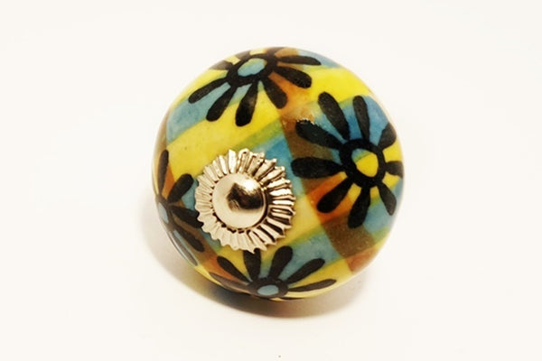 Ceramic navy yellow vintage colors unique floral round 4cm door knob pulls handles