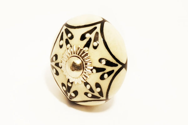 Ceramic black white embossed unique floral round 4cm door knob pulls handles