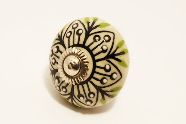Ceramic cream green embossed unique floral round 4cm door knob pulls handles