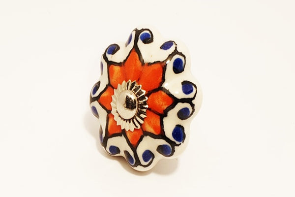 Ceramic red blue white unique pumpkin 4.5cm door knob pulls handles