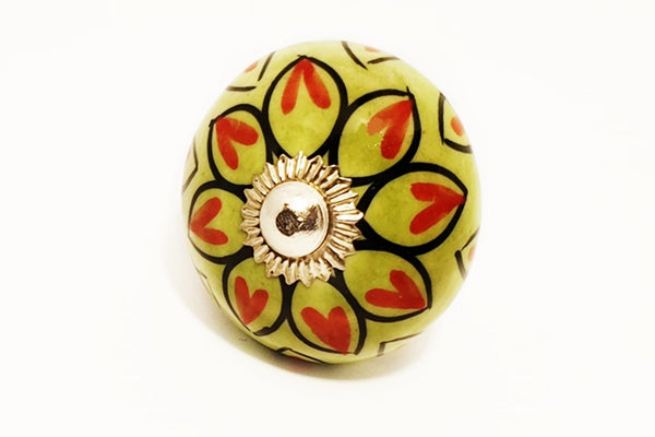 Ceramic green red unique floral round 4cm door knob pulls handles