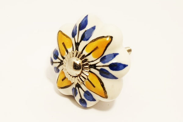 Ceramic yellow/orange blue white unique pumpkin 4.5cm door knob pulls handles
