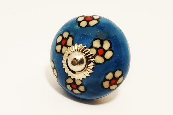 Ceramic aqua white red floral unique funky round 4cm door knob pulls handles