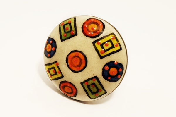 Ceramic colorful candy unique embossed floral round 4.5cm door knob pulls handles