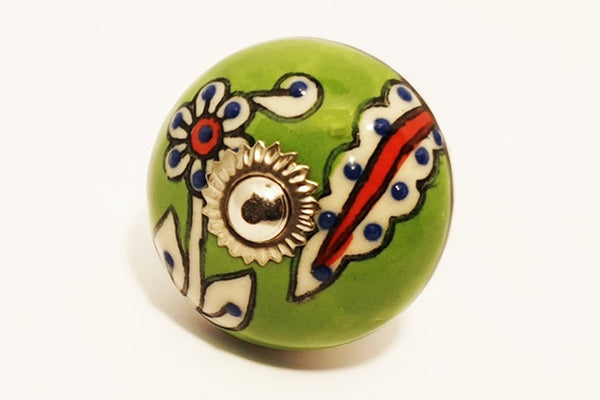 Ceramic green white red  floral unique funky round 4cm door knob pulls handles