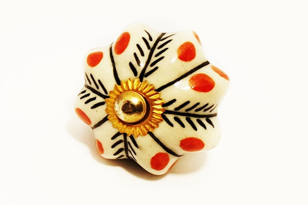 Ceramic black white red unique pumpkin 4.5cm door knob pulls handles