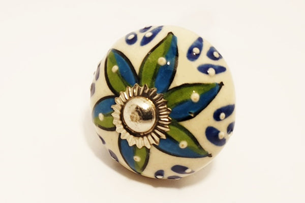 Ceramic  ocean blue yellow embossed unique funky round 4cm door knob pulls handles