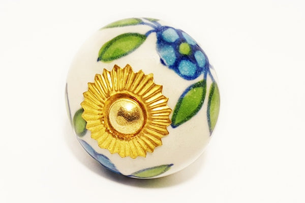 Ceramic aqua white green floral unique funky round 4cm door knob pulls handles