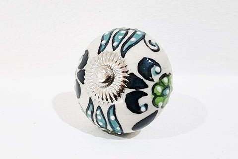 Ceramic blue ocean green embossed intricate design 4cm round door knob