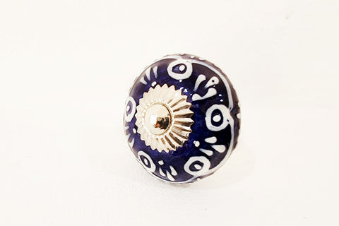 Ceramic dark blue Moroccan style 4cm round door knob