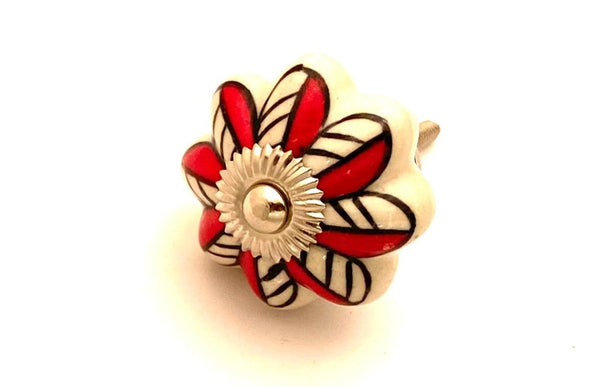 Ceramic black red flower pumpkin 4.5cm door knob