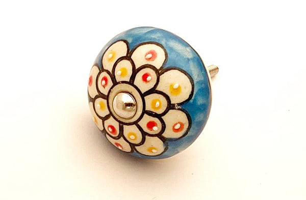 Ceramic funky floral blue red yellow delicate embossed 4cm round door knob