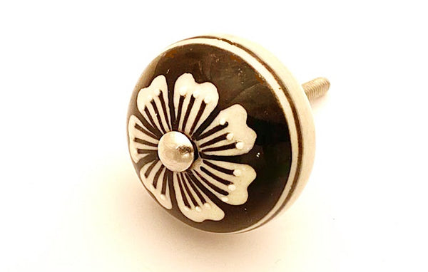 Ceramic black with white floral design embossed 4cm round door knob