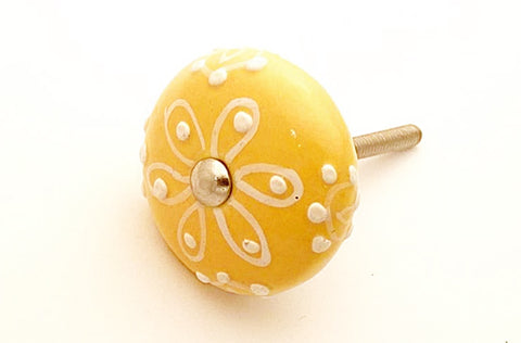 Ceramic shabby chic yellow mustard embossed 4cm round door knob