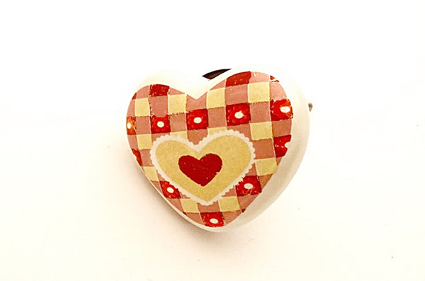 Ceramic red yellow shabby chic kids printed 4cm heart door knob