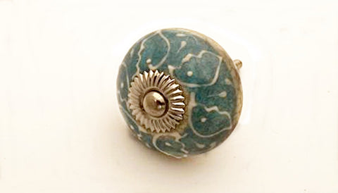 Ceramic aqua ocean blue unique floral design embossed 4cm round door knob