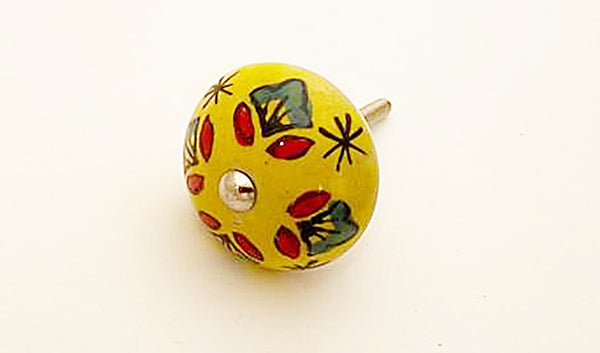 Ceramic red yellow green funky floral 4cm round door knob