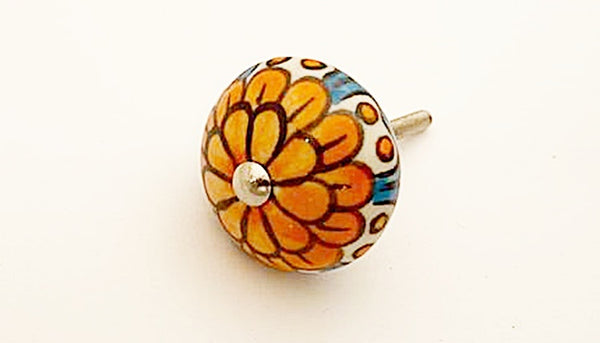 Ceramic orange blue  flower round 4cm door knob
