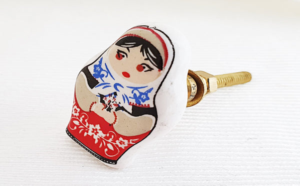 Ceramic colorful babushka design shabby chic printed 4cm door knob