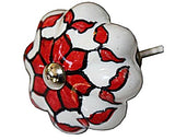 Ceramic 4.5 Cm   White Red Pumpkin Delicate style door knobs