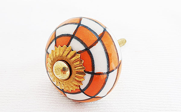 Ceramic orange white checkers funky design door knob