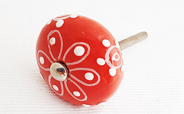 Ceramic shabby chic red embossed 4cm round door knob
