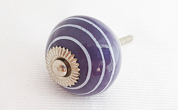 Ceramic purple spiral 4cm round door knob