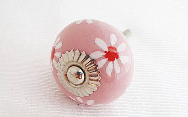 Ceramic shabby chic pink flower spring design 4cm round door knob