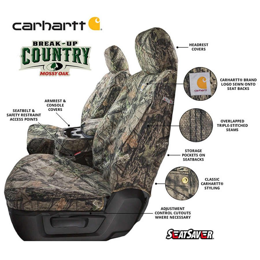 Covercraft Carhartt Mossy Oak Camo SeatSaver Front Row Custom Fit Seat Cover for Select Ford E-250//E-350 Super Duty Models Break-Up Country Duck Weave SSC2397CAMB