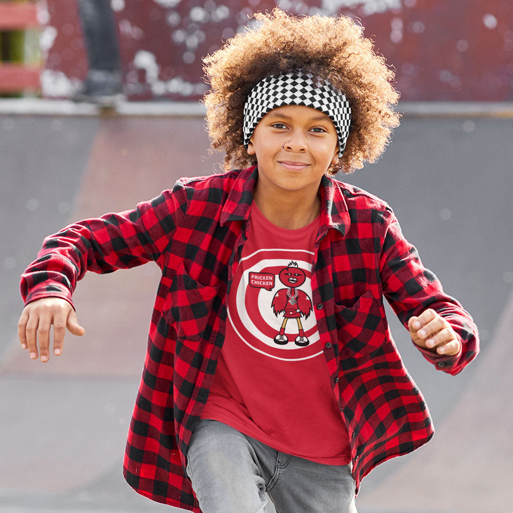 FluxxCo_FrickenChicken_Tee_Red_male_skater_with_cool_hair