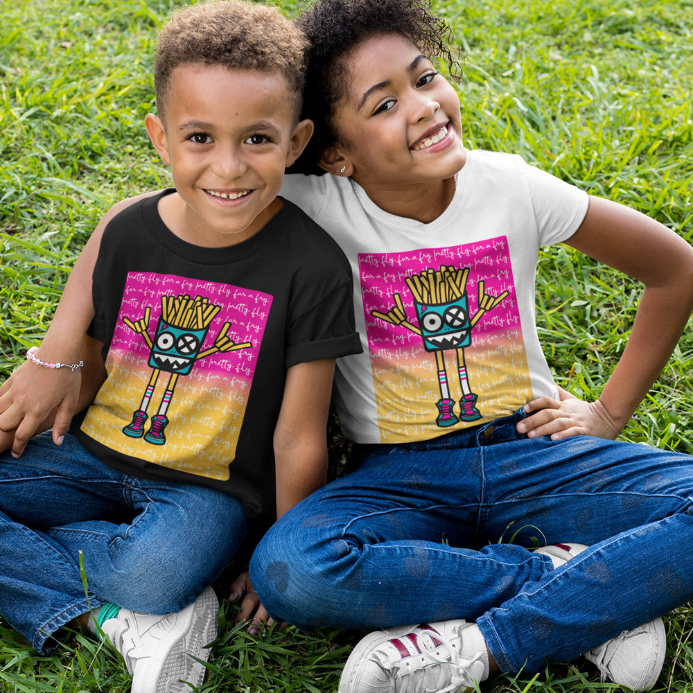 FluxxCo_Mister_French_Fry_Head_Youth_Tee_bro_and_sis_hugging_in_the_grass