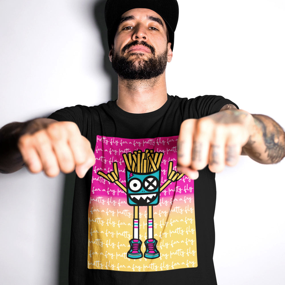 FluxxCo_Mister_French_Fry_Head_tee_black_tattooed_man_with_fists_forward