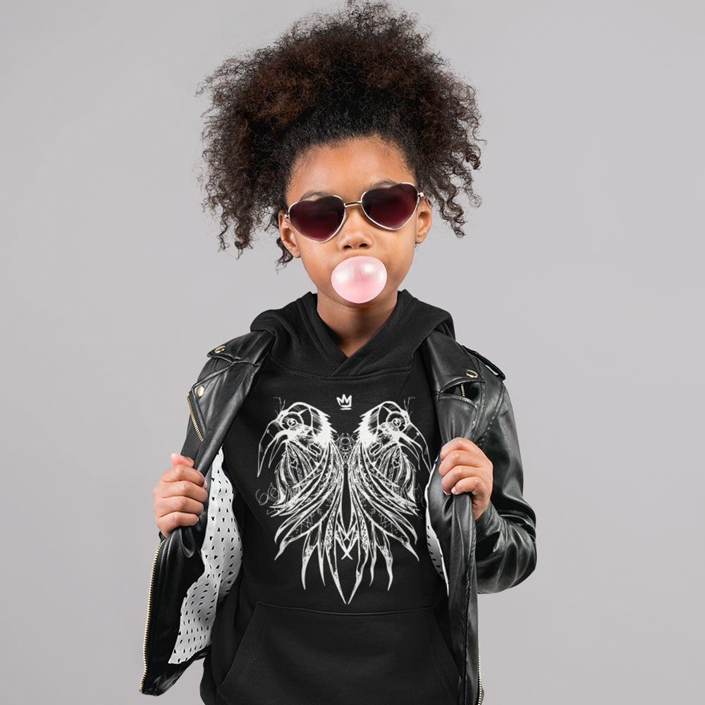 FluxxCo_Royal_Raven_Youth_Hoodie_Cool_girl_blowing_gum