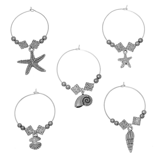 Seaside Wine Glass Charms (5 Piece Set)