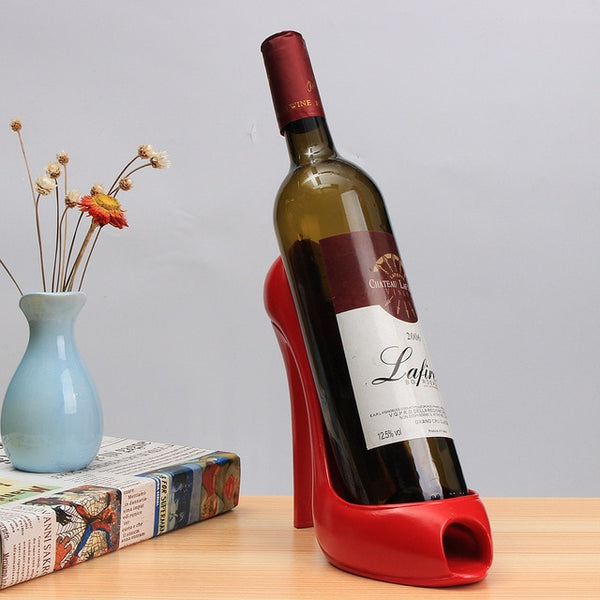 Peep-Toe High Heel Wine Bottle Holder (Available in: Red, White, Pink)