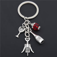 Key Ring with Wine Charms