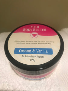 NOM - COCONUT & VANILLA HANDMADE BODY BUTTER - 220gm