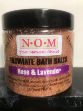 NOM - ROSE & LAVENDER ULTIMATE BATH SALTS 500gm