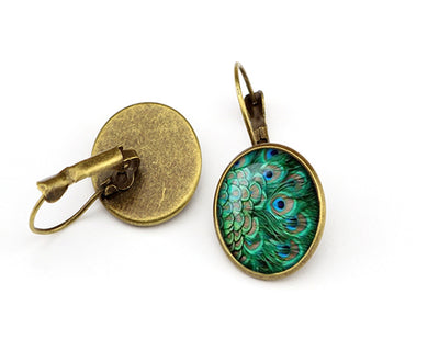 Peacock Feather Glass Cabochon Earring