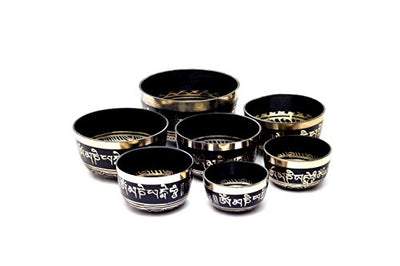 Very High Quality Chakra Healing Tibetan Singing Bowl Set -  Set of 7 From Nepal