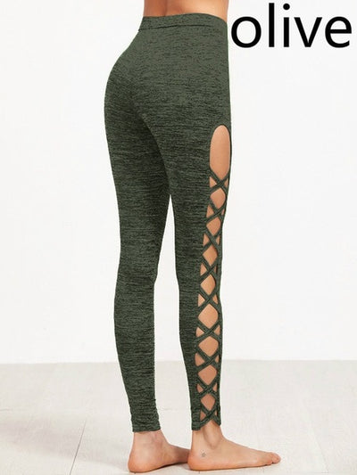 Lace Style Yoga Pants - Nature Green