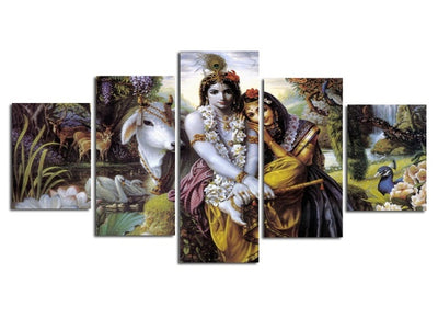"High Quality Canvas Wall Art -""The Divine Couple""  Sri Radha & Sri Krishna"