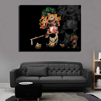 Wall Art - High Definition Sri Krishna Canvas Painting, Unframed Print