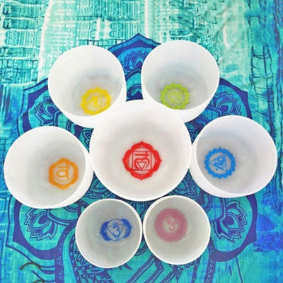 Chakra Tuned Set 7 Crystal Singing Bowls