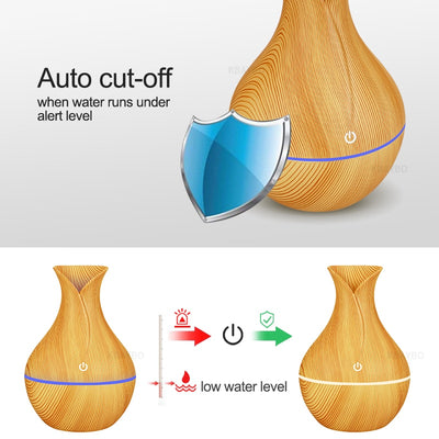 Aromatherapy Ambiance - Wood Grain Essential Oil Diffuser