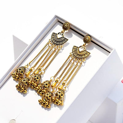 Low Drop Indian Bell Dangle Earring