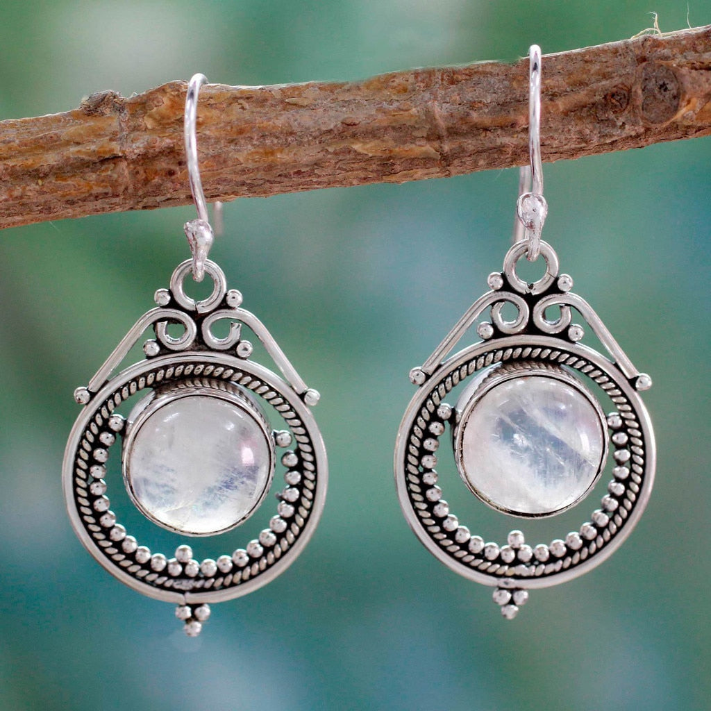 Calming Moonstone Vintage Earrings